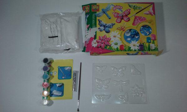 SES 01131 – ģipša tauriņu izgatavošanas un dekorēšanas komplekts bērniem